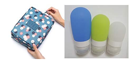 Kosmetiktasche, Make-up-Tasche, Reisetasche, Reise-Set, Silica-Gel-Reiseflaschen, 3-teiliges Reisezubehör, Hautpflege, Creme-Flasche, Shampoo-Flasche blaue blumen