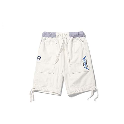 CO Summer Five-Point Pants Embroidery Letter Panda Shorts Men's Straight-Leg Pants Casual Workwear Middle Pants White