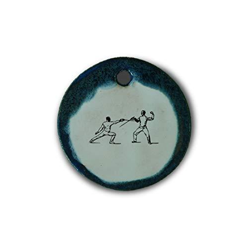 """Schöner Keramik-Anhänger """"Fechten"""" in blau marmoriert; Schmuck Kette Kettenanhänger Geschenk Kunsthandwerk Keramik rund Talisman Amulett Mann"""