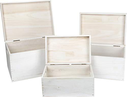 small foot houten kist wit in 3-delige set, als decoratie of opbergmogelijkheid, verschillende maten, universeel inzetbaar voor thuis, hout, één maat
