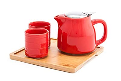 Fuji Merchandise Colorful Ceramic 20 fl oz Teapot with Two Matching Cups and Bamboo Tray Tea Set (Red)