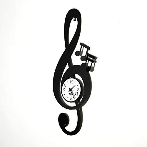 ARTI E MESTIERI Orologio da Parete Chiave Musicale Design Ferro Colore Nero
