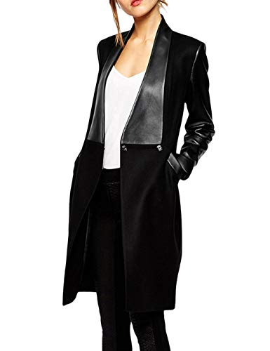 Faux Leather Sleeve Trench Coat