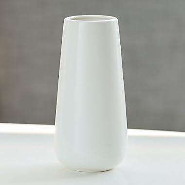 D'vine Dev Gift Box Packaged 8  Tall Matte White Ceramic Flower Vases - Home Decor Vase and Table Centerpieces Vase