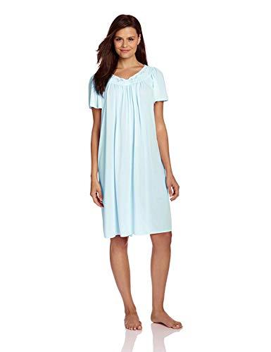 Miss Elaine Women's Tricot Short Flutter Sleeve Nightgown, Sea Foam, Large