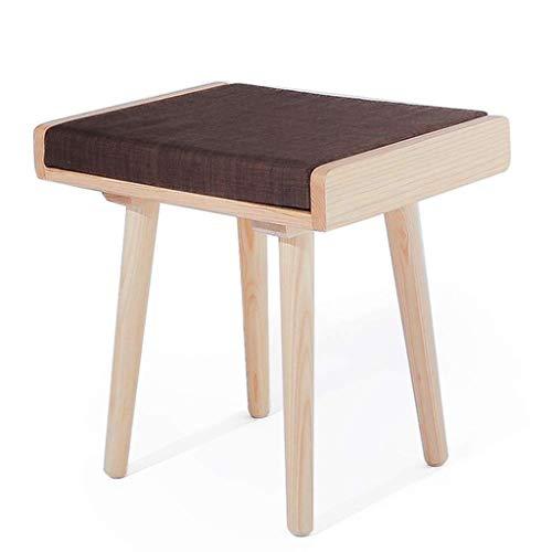 Yxsd Taburete taburete taburete de madera maciza para decoración del hogar, con bolsa suave, taburete de maquillaje (color: color de tronco+marrón, tamaño: 45 x 35 x 44 cm)