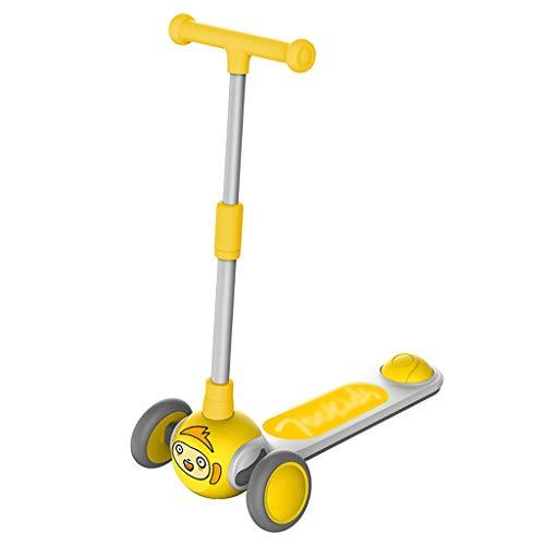 Patinete Scooter de la Altura Ajustable Plegable Ilumina Las Ruedas de la Scooter para Los Niños de 3 A 12 Años de Edad Magra para Dirigir (Color : Yellow)