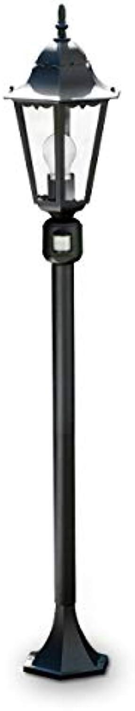 Auenstehleuchte HONGKONG aus Aluguss schwarz mit klarem Glas - Klassische Wegeleuchte für Garten mit Bewegungsmelder - Aussenbereich - IP44