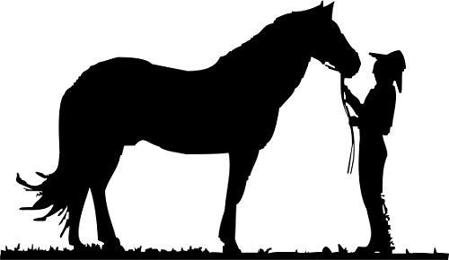Autoaufkleber – Cowboy – Pferd – Wilder Westen – Tiermotiv – Western – Pferdeanhänger // KFZ-Aufkleber – Wetterfest // verschiedene Farben und Größen (Silber - 300 mm x 180 mm)