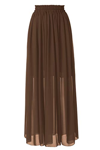Topdress Women's Floor Length Beach Skirt Floral Print Chiffon Maxi Skirts Brown M