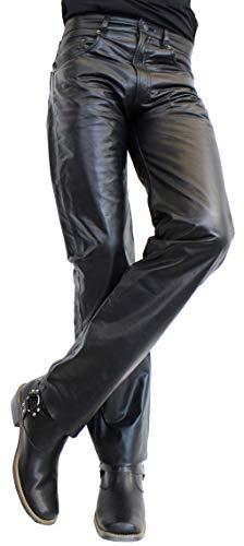 JEANS 06 von RICANO Herren Lederhose, Büffel Nappa Echtleder, schwarz (38, schwarz)