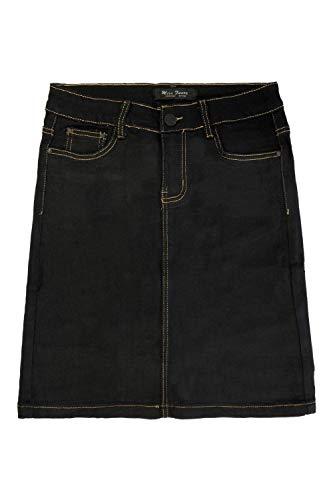 Damen Denim Jeans Rock Classic Stretch Knielang Basic Midi Skirt Dicke Kontrast Naht mit Schlitz, Farben:Schwarz, Größe:42