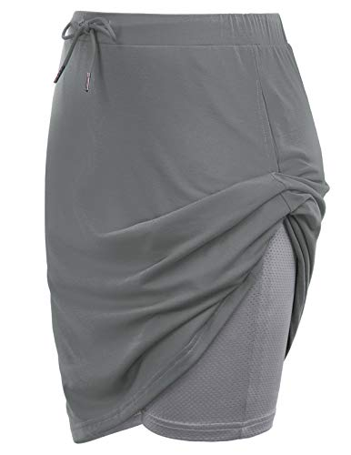 JACK SMITH Tennis Skorts for Women with Pockets Sports Skirts Running Athletic Summer(M,Grey)