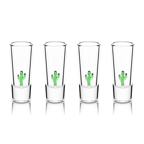 IOC Baja Collection Authentic Mexican Artisanal Tequila Shot Glasses with Glass Blown Cacti - 4 Shot Glass Pack 2 Oz 50 ML-Fathers Day Gifts Kitchen Supplies Fun Ideal Housewarming Gift