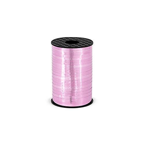 Partydeco Lot de 5 Rubans fermés pour Emballage Cadeau Rose métallisé 225 mm