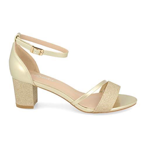 Sandalia Mujer Ankle Strap de Vestir con Tacon, Detalle Brillante y Pulsera con Hebilla en el Tobillo. Primavera Verano 2020. Talla 37 Oro