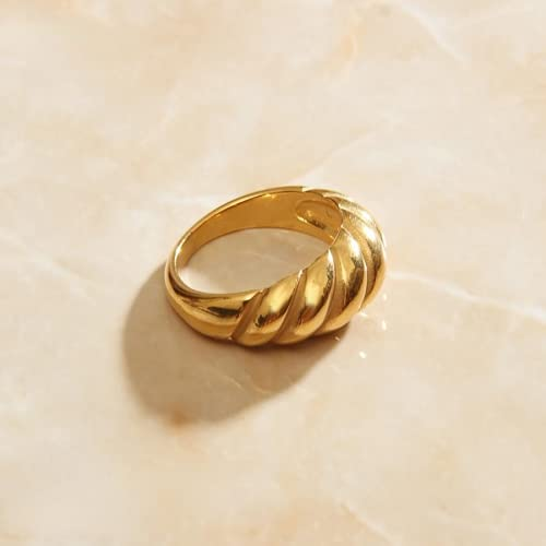 Ladies Ring Bread Shape Round Geometric Ring Golden Ring Ladies Accessories Finger Fashion Jewelry Accessories