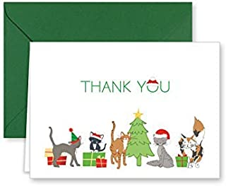Paper Frenzy Christmas Kitty Cats Holiday Thank You Note Cards and Green Envelopes - 25 pack