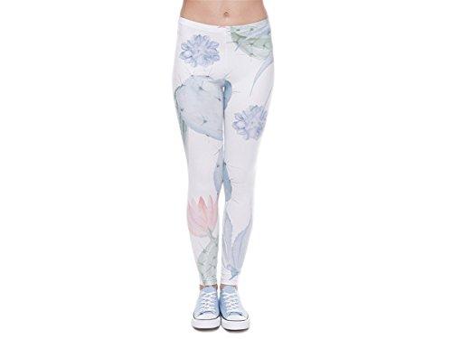 Alsino Damen Gym Leggings mit All-Over-Print Motiven - Größe: One Size - Stretch fähig, Kaktus (LEG-105)