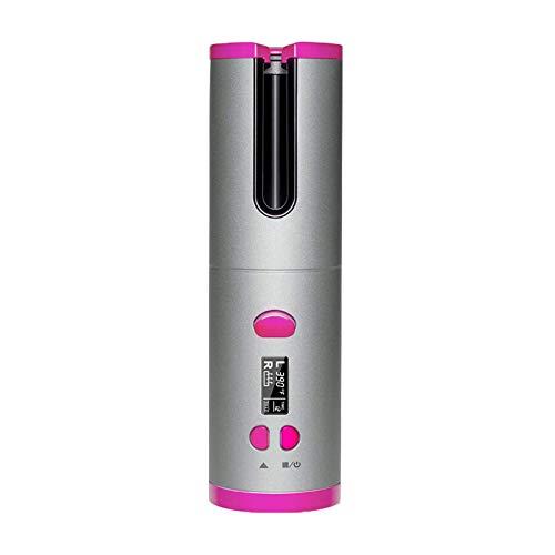 Rizador de Pelo Automático Inalámbrico, Rizador Inteligente Portátil Anti-escaldado, USB 6 Ajustes de Temperatura Rizador de Cabello con Cerámica de Calentamiento Rápido (Negro, 7.48x2.2x1.93 pulgada)