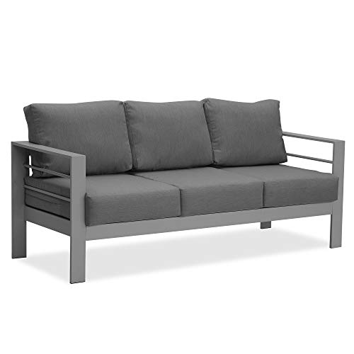 Wisteria Lane Patio Furniture Aluminum Sofa, All-Weather Outdoor 3 Seats Couch, Gray Metal Chair with Dark Grey Cushions