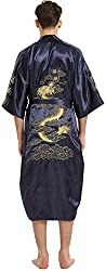 mens robe with embroidered chinese dragon dark blue silky fabric