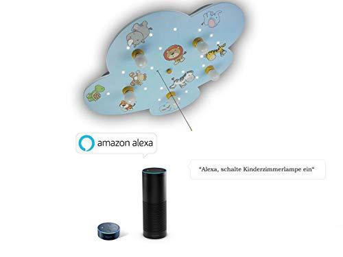 Plafonnier LED Enfants XXL – Amazon Echo compatible – avec interrupteur, Veilleuses LED les animaux sauvages apportent le ciel étoilé à la Chambre de bébé.