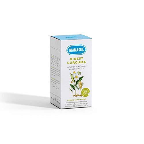 MANASUL - Infusión Digestiva con Cúrcuma de Manzanilla, Anís Verde y Melisa. Digest con Cúrcuma. Caja de 12 Pirámides