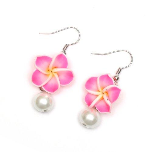 Pendientes hechos a mano de Idin Fimo – Flores Frangipani hechas a mano de Fimo con perlas de cristal