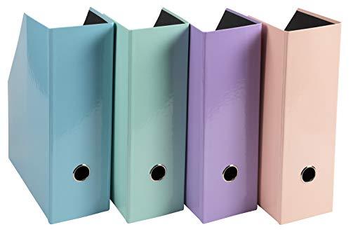 Exacompta - Réf 90560E -Lot 2 porte-revues Aquarel- carton recouvert de papier pelliculé - dos de 100mm - coloris aléatoires bleu, corail, mauve, vert -31x25cm pour format 24x32cm ou A4 - livré à plat