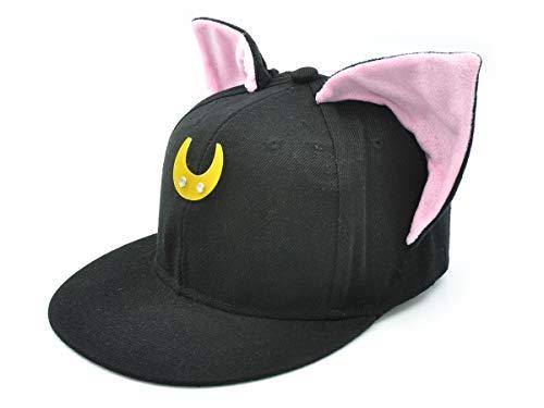 CoolChange Cappello da Baseball di Sailor Moon con Le Orecchie da Gatto, Nero