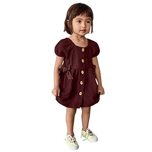 Livoral 2019 Kleidung Set Säuglingsmädchenkurzschlußhülse Normallack druckte Knopfprinzessin-Kleidkleidung(Wein,110) …