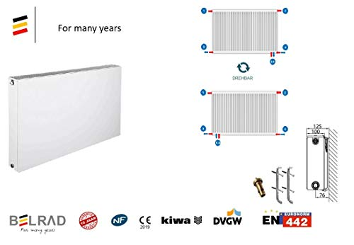 Belrad Type 22 radiator plan 400x2000 mm universele radiator glad compact & ventielradiator houder & ventiel - 6 aansluiting