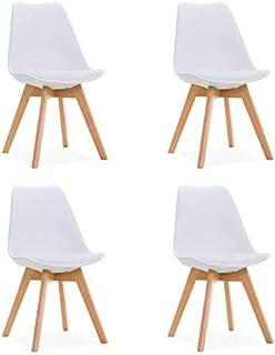 Silla de Comedor Torre 4P - diseño nórdico - Patas Madera de Haya - Carcasa Polipropileno Blanco - (Pack de 4) - Comedor - Cocina