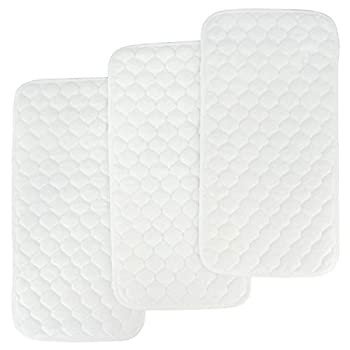 BlueSnail Bamboo Quilted Thicker Waterproof Changing Pad Liners 3 Count  Snow White