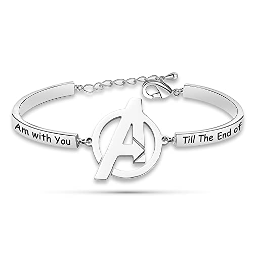 Pulsera con texto en inglés 'I Am with You Till The End of The Line Avengers Bracelet Marvel Friendship Jewelry for BFF Couple-BR
