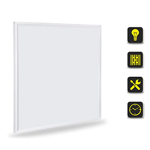 [Pro High Lumen]OUBO LED Panel 62x62 Neutralweiß 4000K LED Deckenleuchte Ultraslim 36W 4550 Lumen Weißrahmen Pendelleuchte Wandleuchten für Küche, Keller, Büro, inkl. Netzteil