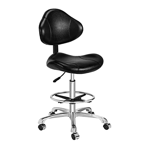 Kaleurrier Ergonomic Drafting Chair with Back Support,Multi-Functional Height Adjustable Swivel Rolling Stool,Multi-Purpose Home Office Desk Chair(Black)