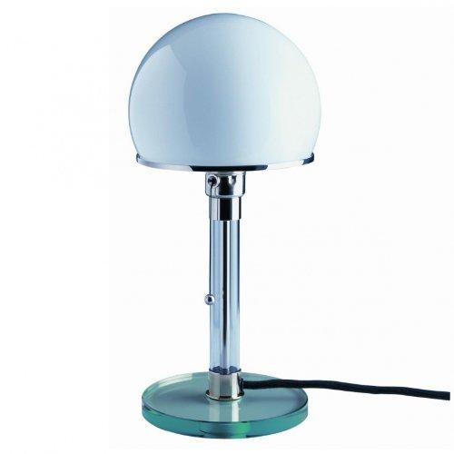 Tecnolumen Wagenfeld WG 24 Tischleuchte, transparent Glas Glas Schirm weiß mit Schweizer Stecker