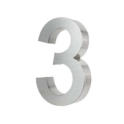KOBERT GOODS Hochwertig Modern Gebürstet Edelstahl V2A Hausnummer 3 klassisch 3D-Effekt Design Wetterfest und Rostfrei inklusive Montage-Material Höhe 20cm Tiefe 3cm Groß für Haus und Gartenzaun