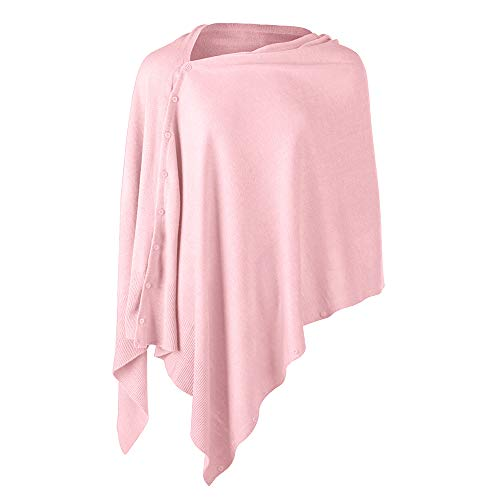 Womens Poncho Sweater Versatile Knit Scarf Wrap with Buttons Solid Shawl Cape Cardigan Gifts for Women Pink