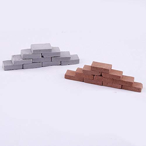 Mini-Ziegelsteine, rot-grau, zum Bauen von Kinderlandschafts-Sandtisch, 200 Stück, 1:16 - Gray, Free Size