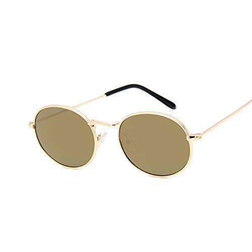 Astemdhj Gafas de Sol Sunglasses Gafas De Sol Ovaladas Retro para Mujer, Diseñador De Marca, Vintage, Pequeño, Negro, Rojo, Amarillo, Gafas De Sol para Mujer, Oro, OroAnti-UV