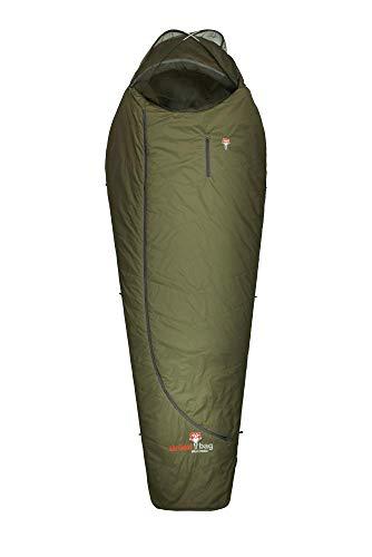Grüezi-Bag Biopod Wolle Survival 185 Schlafsack, Almwolle-Füllung, 215x78x50cm, 1200g, Packmaß Ø27x23cm, Camping/Hütte/Zelten, bis 185 cm Körpergröße