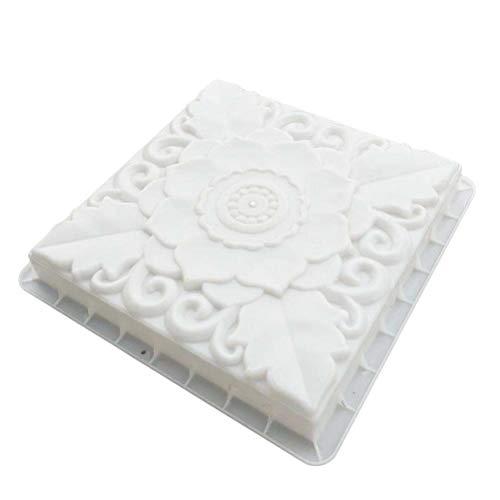 BESTOMZ DIY Molde para Cemento Molde para Hormigón Molde de Piedras de Pavimento de Loto para Hacer Pavimentos/Caminos/Suelos de Jardín Patio Balcón 40x40x6cm