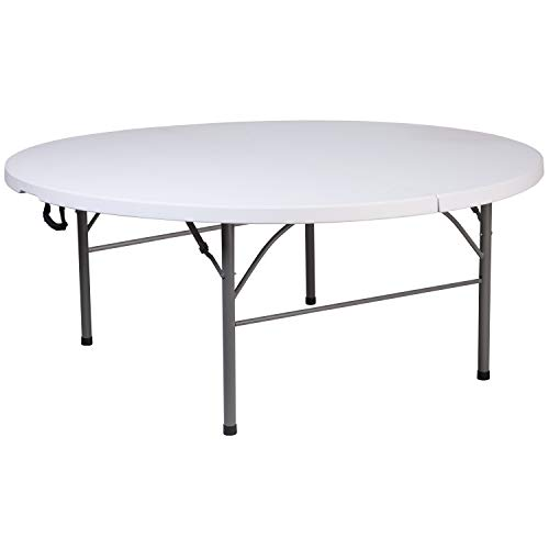 Flash Furniture 5.89-Foot Round Bi-Fold Granite White Plastic Banquet and Event Folding Table with Carrying Handle
