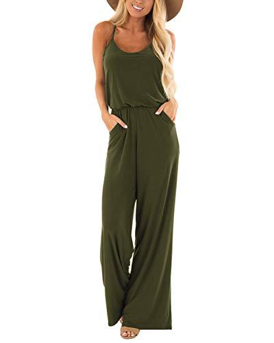 SUNNYME Monos sueltos para mujer, de verano, casual, sin mangas, tirantes delgados, pierna ancha, con bolsillos