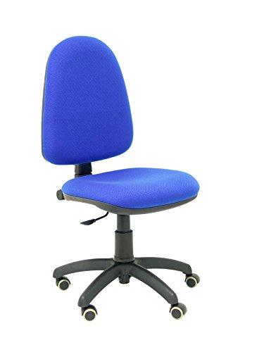 PIQUERAS Y CRESPO Modell 04CP Ergonomischer Bürostuhl mit Permanentkontaktmechanik, höhenverstellbar und räder parkett Sitz und Rücken gepolstert in Stoff BALI blau