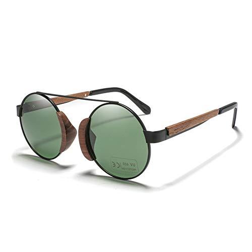 Qianghua Gafas de Sol polarizadas para Hombres y Mujeres Gafas de Sol Retro Redondas de Madera Protección contra Rayos UVA/UVB 100% para piloto Ciclismo Conducción Golf,C