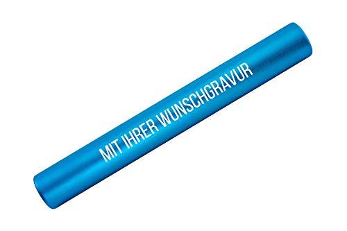 Staffelstab aus Aluminium mit Gravur Geschenk für Mitarbeiter & Motivation | Sport | hochwertige Lasergravur | (hellblau)